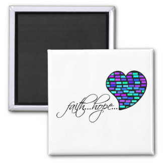 Faith Hope Love Heart 1 Corinthians 13:13 Square Magnet
