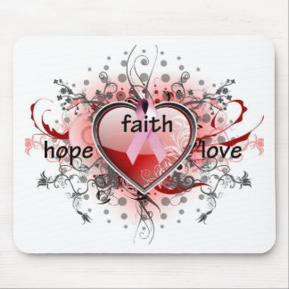 Faith Hope Love Heart Cancer Awareness Pink Ribbon Mouse Pad