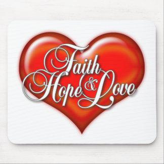 Faith Hope Love Heart Mouse Pad