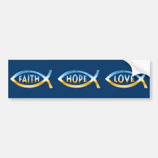 Faith Hope Love - Ichthus or Fish Symbols Bumper Sticker