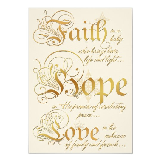 Faith, Hope, Love Ivory, Gold Photo Christmas Card