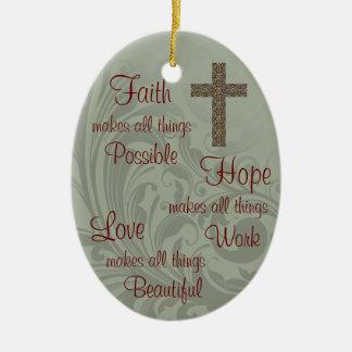Faith Hope & Love Oval Ornament