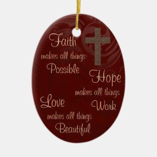 Faith Hope & Love Oval Ornament Burgundy