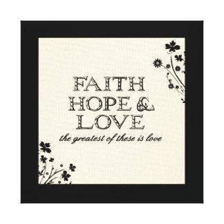 Faith, Hope & Love Parchment Stretched Canvas Print