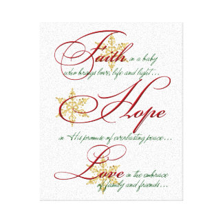 Faith, Hope, Love Pink and Gold Christmas Canvas Stretched Canvas Print