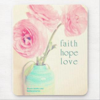 faith hope love ranunculus flowers 1 corinthias 13 mouse pad