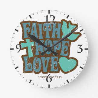 faith hope love round clock