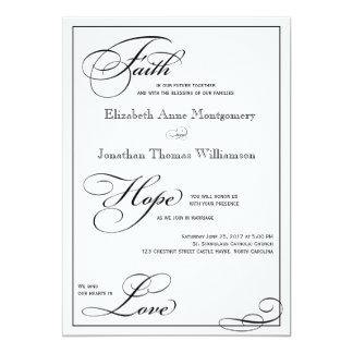 "Faith Hope Love Script Wedding Invitation 5"" X 7"" Invitation Card"