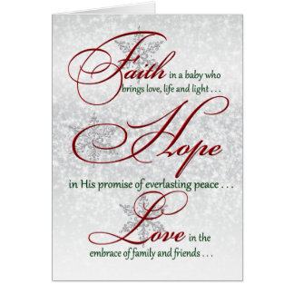 Faith, Hope, Love Silver Snowflakes Christmas Card