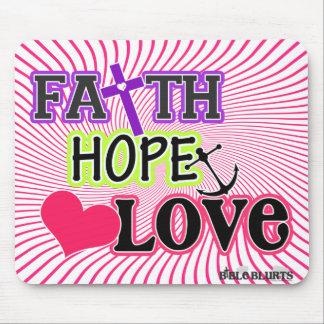 Faith Hope Love (swirls) Mouse Pad