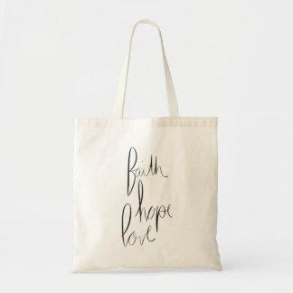 'faith, hope, love' tote bag