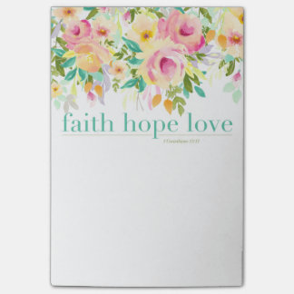 Faith Hope Love | Watercolor Floral Post-it® Notes