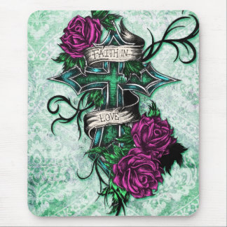 Faith in Love Roses and cross art on green base Mousepads