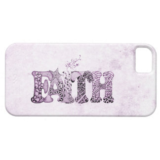 Faith in purple textured letters case for the iPhone 5