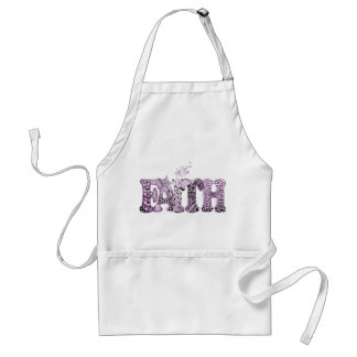 Faith in purple textured letters standard apron