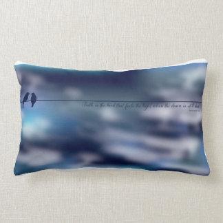 Faith is the bird that feels the light lumbar cushion