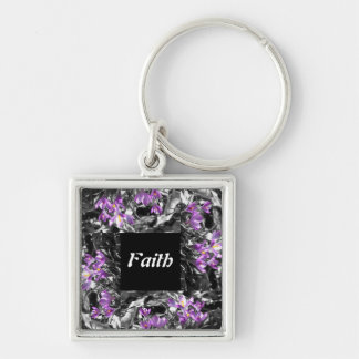 Faith Keyring Silver-Colored Square Key Ring