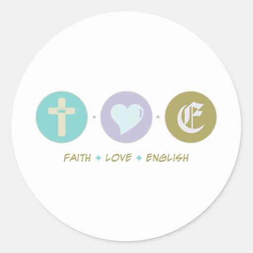 Faith Love English Round Sticker