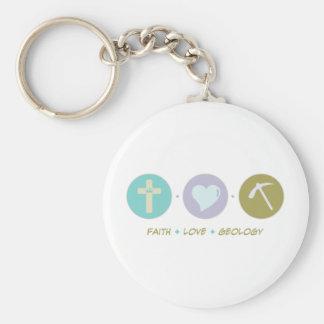 Faith Love Geology Basic Round Button Key Ring