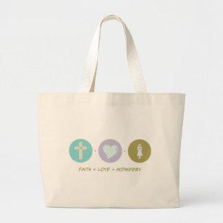 Faith Love Midwifery Large Tote Bag