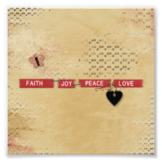 Faith Love Peace Joy Black Heart Butterfly Design Photo