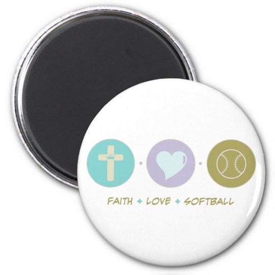Faith Love Softball 6 Cm Round Magnet