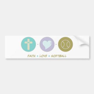 Faith Love Softball Bumper Sticker