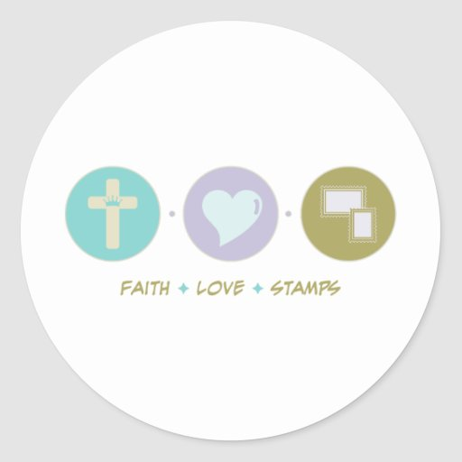 Faith Love Stamps Round Stickers