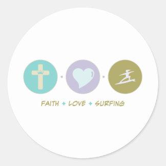 Faith Love Surfing Round Stickers