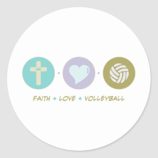 Faith Love Volleyball Classic Round Sticker