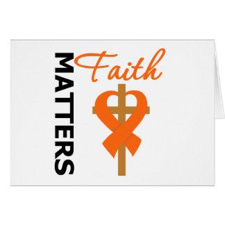 Faith Matters Orange Cross Ribbon Kidney Cancer Greeting Card