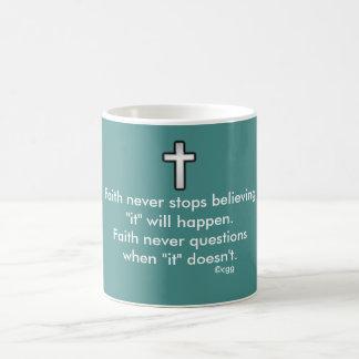 Faith Never Coffee Mug w/Black Outline Cross