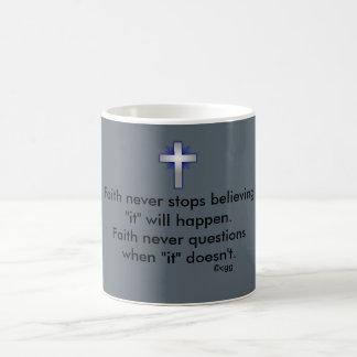 Faith Never Coffee Mug w/Blue Flared Cross