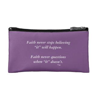 Faith Never Cosmetic Bag w/Black Solid Cross