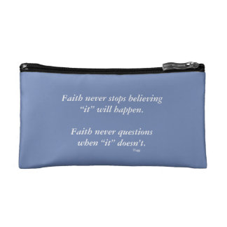 Faith Never Cosmetic Bag w/Blue Cross