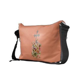 Faith Never Messenger Bag w/Pink Flower Cross