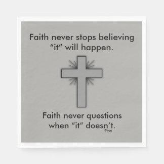 Faith Never Napkins w/Grey Flared Cross Disposable Serviette