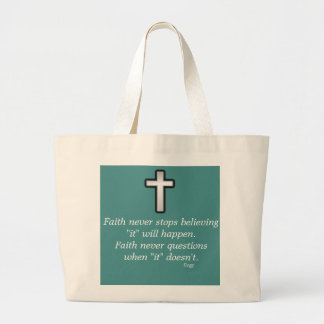 Faith Never Tote w/Black Outline Cross