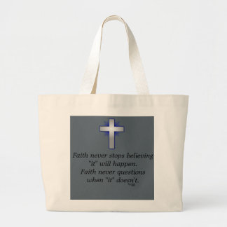 Faith Never Tote w/Blue Flared Cross