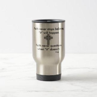 Faith Never Travel Mug w/Grey Flared  Cross