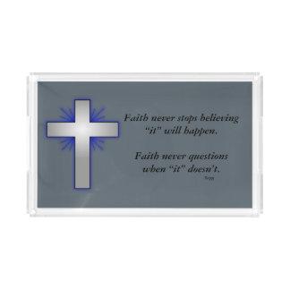 Faith Never Vanity Tray w/Blue Flared Cross