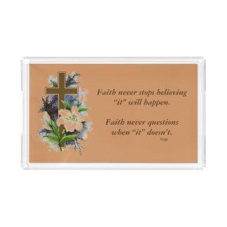 Faith Never Vanity Tray w/Blue Flower Cross