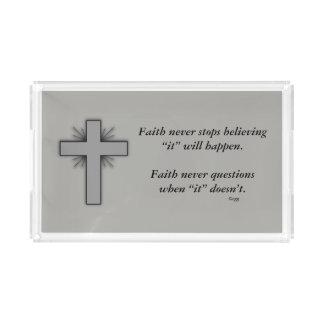 Faith Never Vanity Tray w/Grey Flared Cross