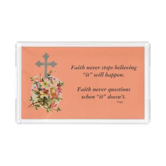 Faith Never Vanity Tray w/Pink Flower Cross