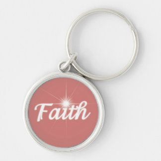 Faith on a Salmon Pink Background Silver-Colored Round Key Ring