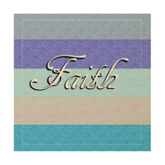 FAITH on Blue Wood Wall Art