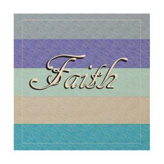 FAITH on Blue Wood Wall Art