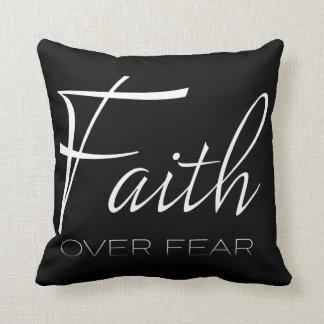 Faith Over Fear Encouragement in White Cushion