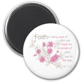 Faith (pink & brown) 6 cm round magnet