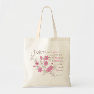 Faith (pink & brown) budget tote bag